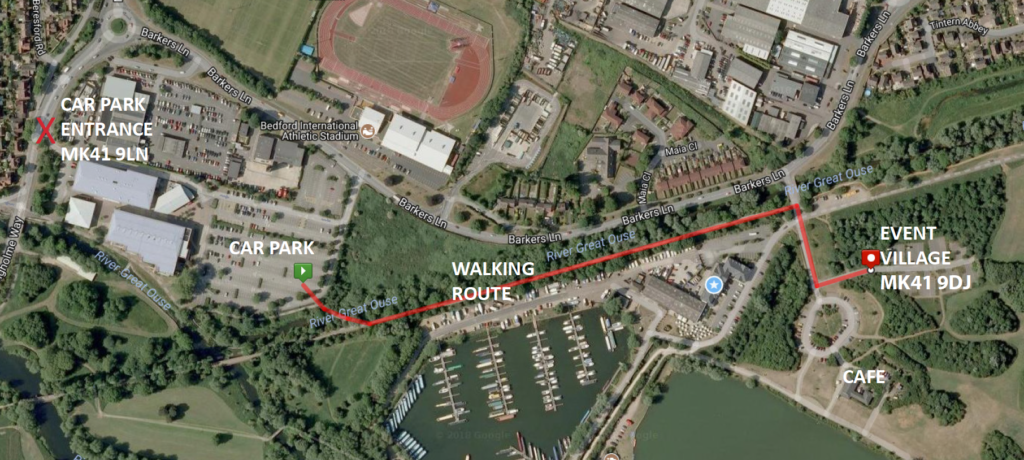 BEDFORD 20 parking and walking route to the Event Village