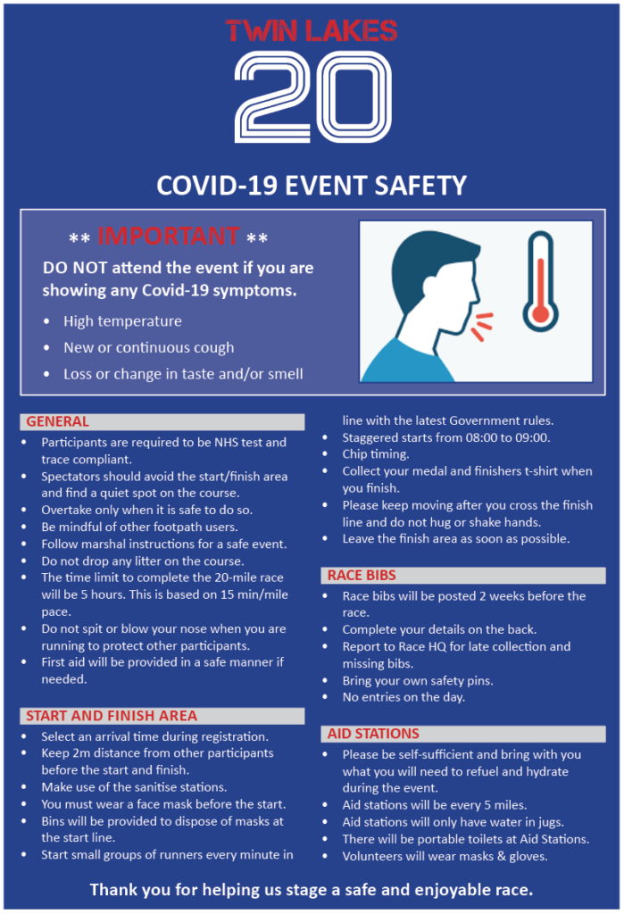 TWIN LAKES 20 Covid-19 event safety